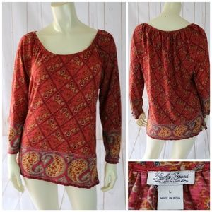 Lucky Brand Cotton Top L Soft Pullover Boho